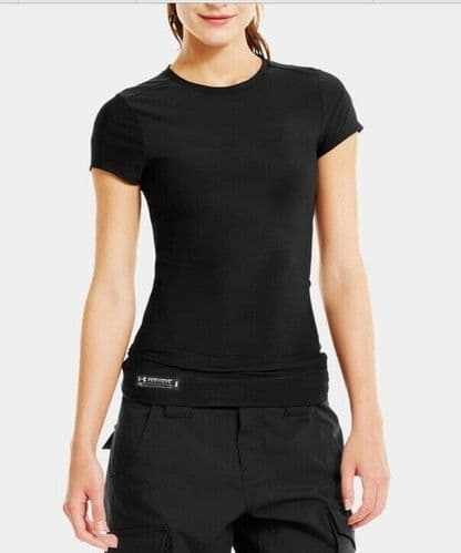 Under Armour Women's Tech Tactical T-Shirt Black Heatgear Wicking fabric